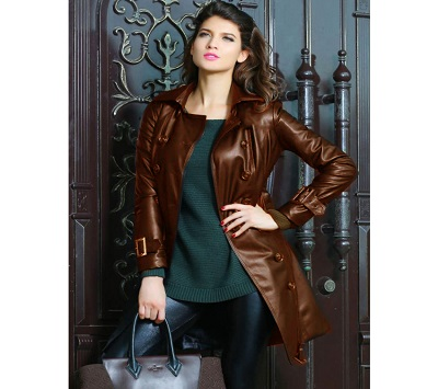 High Street Faux Leather Long Coat For Women
