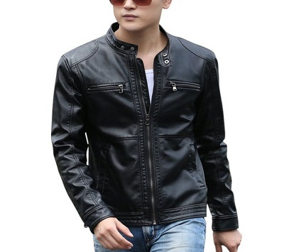 Men Pu Leather  High Street Jacket  Black