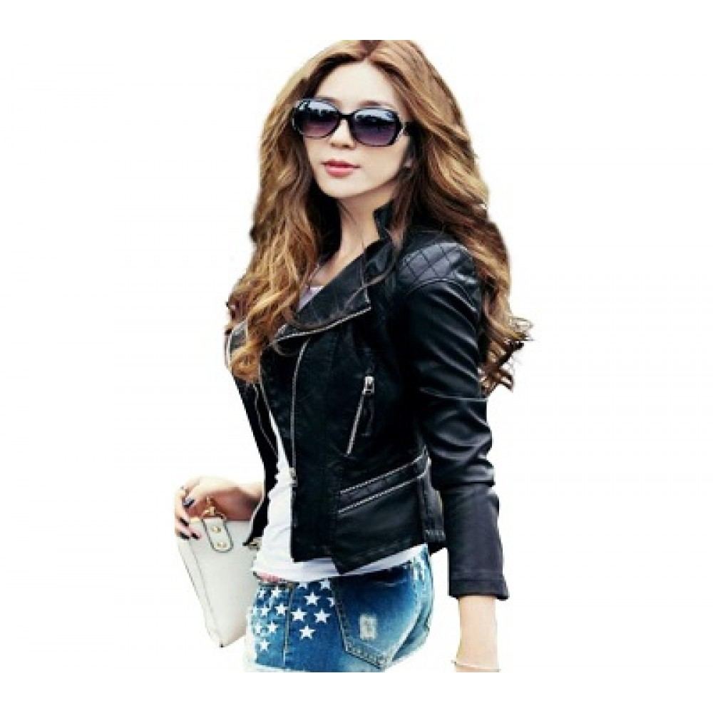 Ladies Pu Leather Black Jacket -  F-Jacket-Blk1