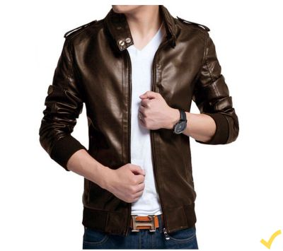 Men Pu Leather  High Street Jacket Brown - Xs