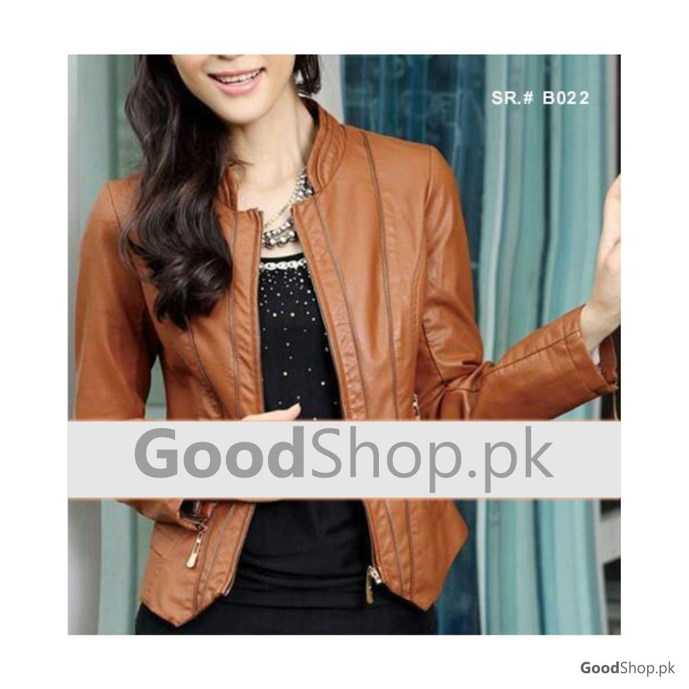 Women Real Leather Jacket Brown Style-TGL137