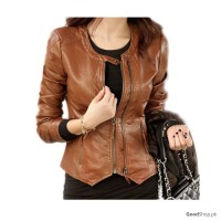 Women Real Leather Jacket Brown Style-TGL138