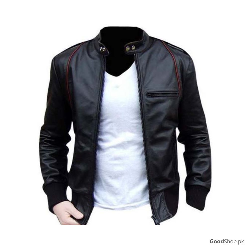 Men Original Leather Jacket Stripe Style Pure Leather Jackets In