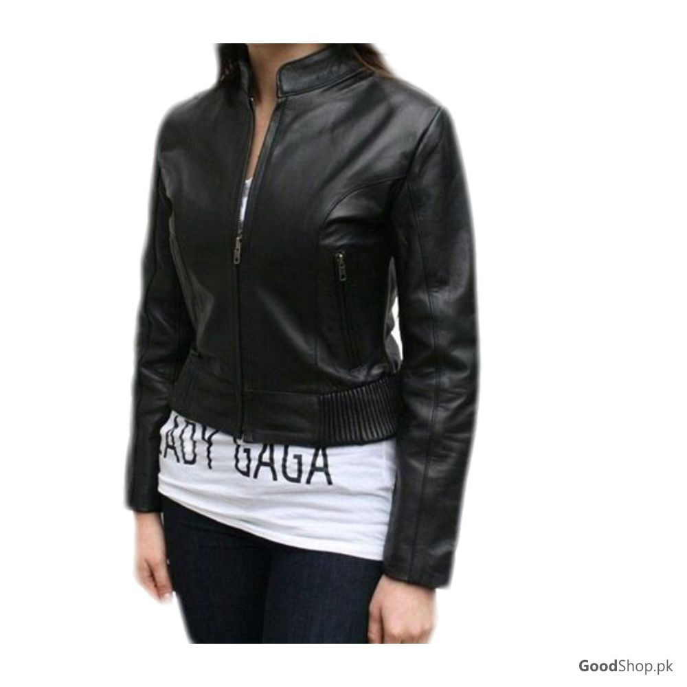 Women Real Leather Jacket Black Style-TGL139